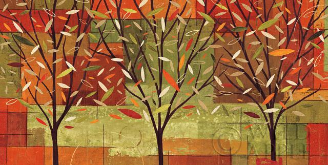 עצים אבסטרקט, סתיו, שלכת, ענפים, עלים, ברונזה, חום, מעגלים, קרם, שלווה, אדום, כתום, עלה, כתום, יער, חורשה, צהוב, ירוק, צבעי מים