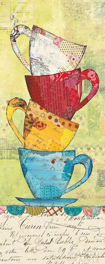 בוא לקפהספלים, קולאז, צבעוני, איור, ערימה, כלי מטבח, קפה