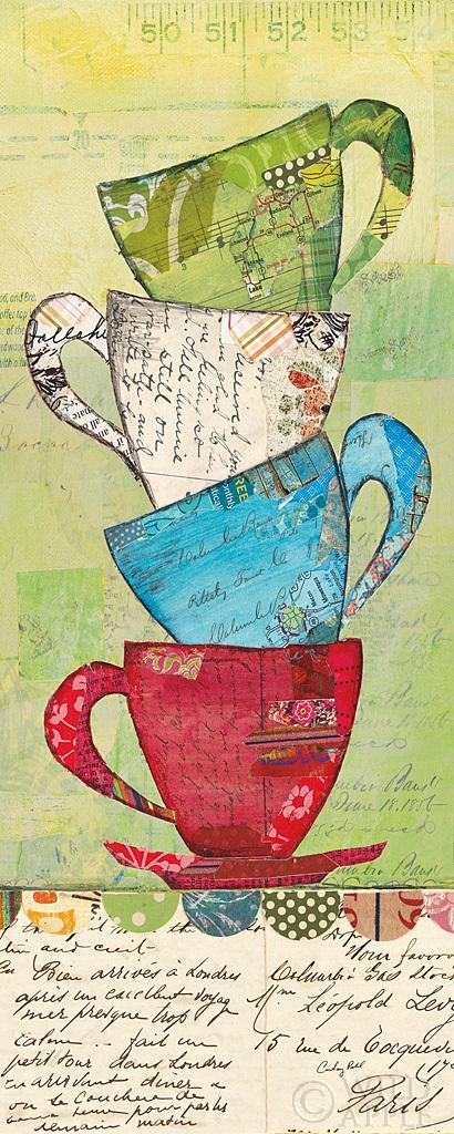 בוא לתהספלים, קולאז, צבעוני, איור, ערימה, כלי מטבח, קפה,תה