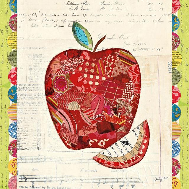 קולז' פירות-תפוחתמונות של פירות ירקות  תפוח, קולאז, פירות, צבעוני, טקסט, איור