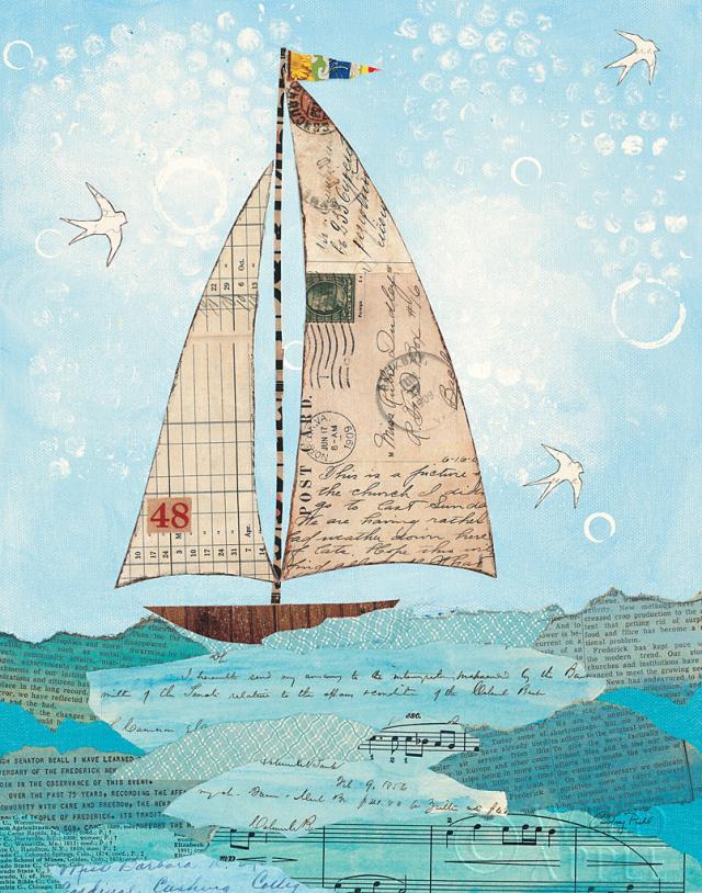 ציפור, ציפורים, שחור, כחול, ירוק, סירה, אניה, מפרשית, חוף, קולאז', עדין, קרם, גלויות, שייט, גלויה, אוקיאנוס, ים, הפלגה, נייר, מכתבים, מכתב, טקסט, מילים, גלים, לבן,