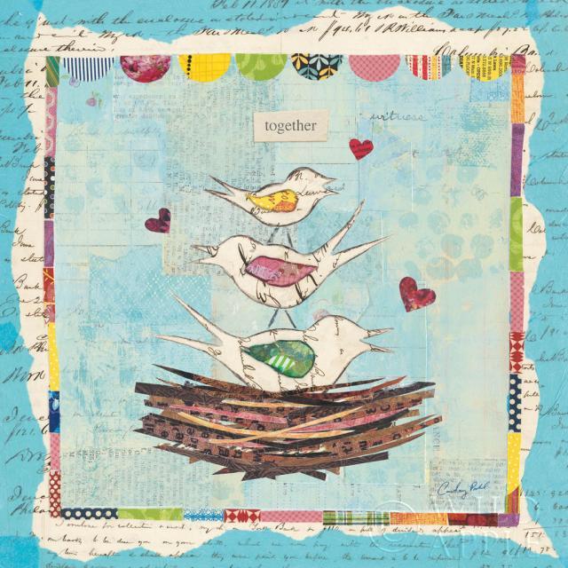 ציפורי אהבה כחולות 3חיות, ציפורים, ציפורים בקן, קן, כחול, חום, קולאז', משפחה, גוזלים, ירוק, לב, אהבה, ציפורי אהבה, מיקס מדיה, עיתון, נייר , ורוד, ציפורי שיר, תכלת, ריבוע,