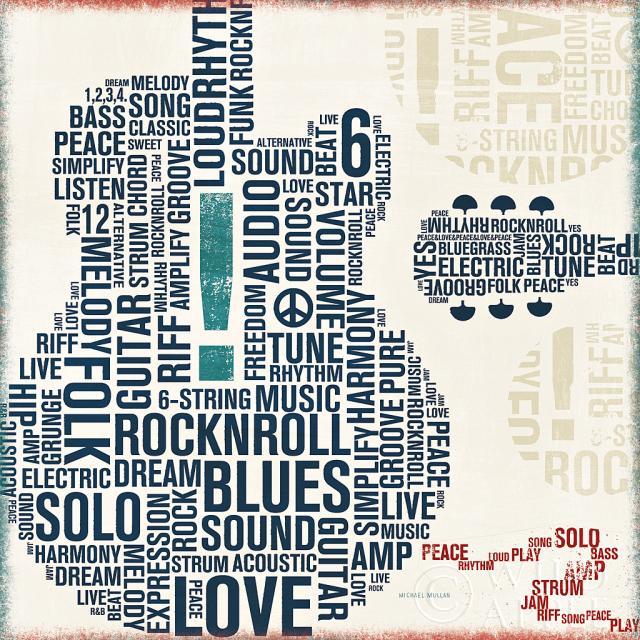 גיטרה מודפסתכחול, גיטרה, כלי נגינה, מודרני , מוסיקה, ריבוע, אותיות, טיפוגרפיה, מודפסה, מילים