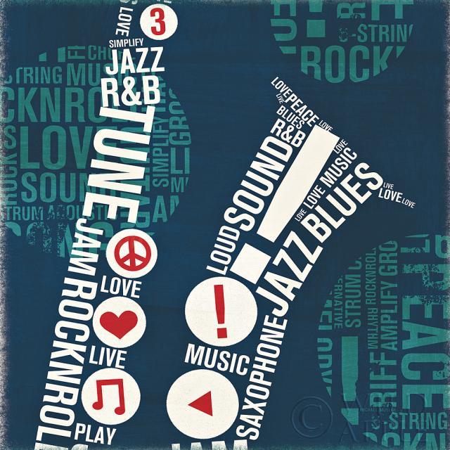 סקסופון מודפסכחול, גיטרה, כלי נגינה, מודרני , מוסיקה, ריבוע, אותיות, טיפוגרפיה, מודפסה, מילים, סקסופון