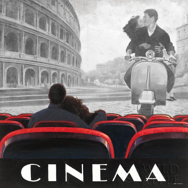 סינמה רומאסרטים ישנים  וינטג', קולנוע, דמויות, זוג אוהבים, וספה , רומא, שחור לבן, אדום, אהבה, סרט, רומנטיקה