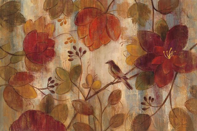 גינה אקזוטיתאבסטרקט, סתו, חום, אקזוטי, סתיו, פרחים, פרחוני, גינה, גן, כתום, חלודה, ציפור