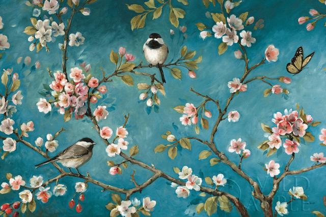שקדיה, ציפורים, פרפר, כחול, עץ, ענפים, עדין, יפני, וינטג', רומנטי