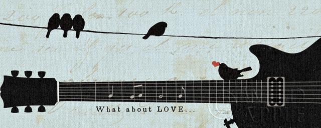 שורה מהפזמון 2גיטרה, תוים, מוסיקה, כחול, דקורטיבי, ציפור, נעים,לב, ציפורים