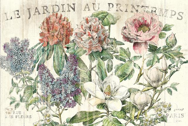 אביב הגינהוינטג', גינה, פרחים , ישן, הדפסה על עץ, קרם, ורוד, צרפתית  , טקסט, רומנטי