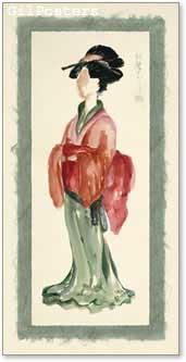 אישה יפנית בירוק ואדוםיפנית סינית מזרחית אוריינטלית גיישה