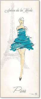 אשת אופנהרישום אופנה,מגדל אייפל, שמלה כחולה, פריז