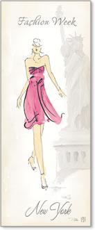 אשת אופנה 2רישום אופנה, שמלה ורודה, ניו יורק