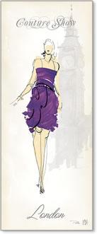 אשת אופנה 3רישום אופנה, שמלה סגולה, לונדון