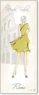 אשת אופנה 4רישום אופנה, שמלה צהובה, רומא