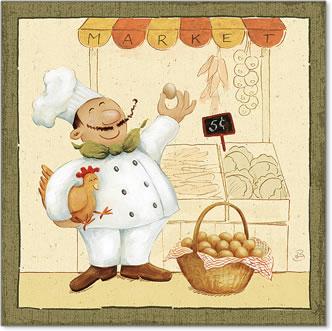 שף בשוקאיור, הומור, קריקטורה, טבח, שפ,שפם, ביצים תרנגולות
