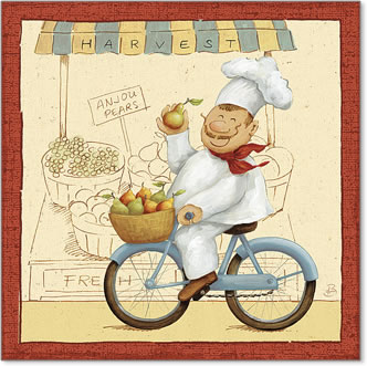 שף בשוק 2איור, הומור, קריקטורה, טבח, שפ,שפם, אגסים, תפוחים, סל , אופניים