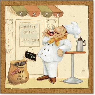 שף בשוק 4איור, הומור, קריקטורה, טבח, שפ,שפם, קפה