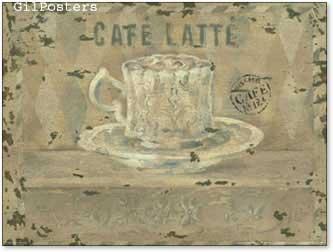 קפה על חלבכוס מטבח כרזה עיצוב רטרו