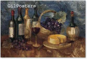 יין וענביםאגרטל כחול שולחן לבן עיצוב בקבוקים כהים