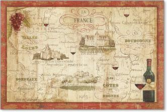 מפת הייןמפה עתיקה, יין , צרפת, מסלול, ענבים