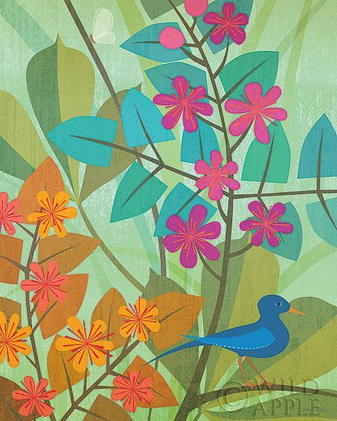 הפרחוניציפור, ציפורים, הדפס, בז', פרחים , פריחה, כחול, ציפור כחולה, שמים, עלים, ענף, כתום