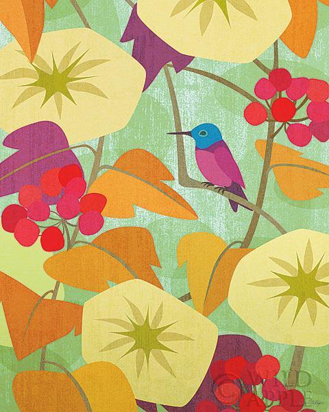 הפרחוני 2ציפור, ציפורים, הדפס, בז', פרחים , פריחה, כחול, ציפור כחולה, שמים, עלים, ענף, כתום