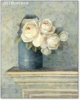 פרחים לבנים בכלי כחולעיצוב אהבה רומן וורדים שושנים ורד שושן וורדים שושנים תכלת