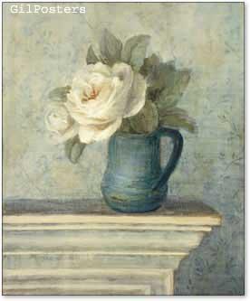 פרחים לבנים בכלי כחול 2עיצוב אהבה רומן וורדים שושנים ורד שושן וורדים שושנים תכלת