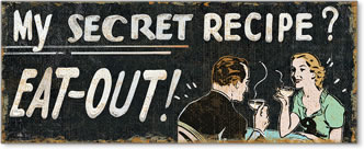 המתכון הסודיהמתכון הסודי - לאכול בחוץ, גיר, לוח, משפט, וינטג', איור