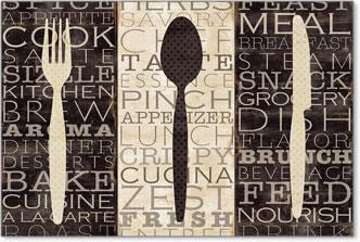 שלישיה של מילים קולינאריות וינטג',  פריז, שחור, לבן, ישן , טקסט, מטבח, מזלג, סכין, כפ