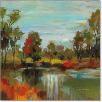 אגם , צבעים, עצים, שמיים, נוף , טבע, סתיו, אווירה, מים, זרימה