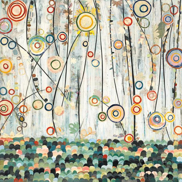 פריחה באחואבסטרקט, שחור, פורח, פרחים, פרחוני, כחול, עיגולים, קולאז', צבעוני, קרם, חיתוכי נייר, צבעים, כתמים, גינה, ירוק, עלים, אחו, ורוד, אדום, תכלת