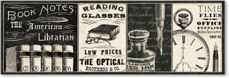 ספרןוינטג', כרזה, דקורטיבי, טקסט, איור, שעון, ספר , משקפיים, ספרים