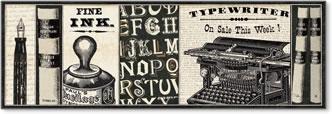 ספרן 2וינטג', כרזה, דקורטיבי, טקסט, איור, מכונת כתיבה, עט נוצה, ספר , משקפיים, ספרים