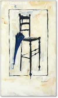 כיסא ומיטריה כחולהעיצוב שחור לבן מודרני עתיק דקורציה