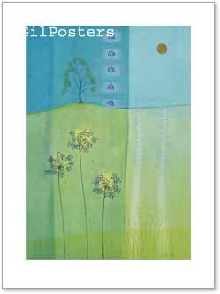פרחים עם רקע 3רומנטי עיצוב מודרני מינמליסטי טבע גבעול נקי צח אסטטי כחול צהוב