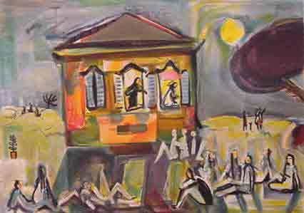 נחום גוטמן - הקונצרט הראשון - ליתוגרפיהאומן ציור נאיבי תזמורת ארץ ישראלית יפו  עגלה בתים שכנים אנשים תל אביב מישפחה ליטוגרפיה