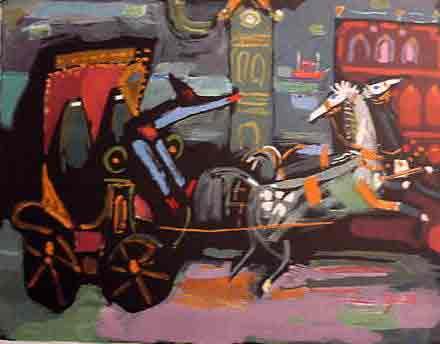 נחום גוטמן - הכרכרה ליד השעון - ליתוגרפיהאומן ציור נאיבי תזמורת ארץ ישראלית יפו סוסים עגלה בתים שכנים אנשים תל אביב מישפחה ליטוגרפיה