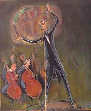 נחום גוטמן - המנצח - ליתוגרפיהאומן ציור נאיבי תזמורת ארץ ישראלית יפו בתים שכנים אנשים תל אביב מישפחה ליטוגרפיה