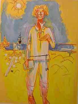 נחום גוטמן - חלוץ בחולות - ליתוגרפיהאומן ציור נאיבי הפרח סימטאות סמטה ארץ ישראלית יפו בתים שכנים אנשים תל אביב מישפחה ליטוגרפיה