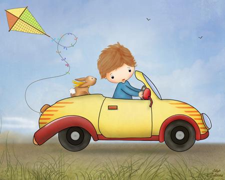 הדפס קנבס  -  כולל מסגרת עץ, מוכן לתליה.ילד מכונית אוטו נוסע תמים נאיבי תינוקות חדרי ילדים קנווס הדפסה