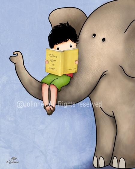 הדפס קנבס  -  כולל מסגרת עץ, מוכן לתליה.ספר קורא יושב על פיל ילד הדפסה קנווס לחדר ילדים חדר ילדים סיפור