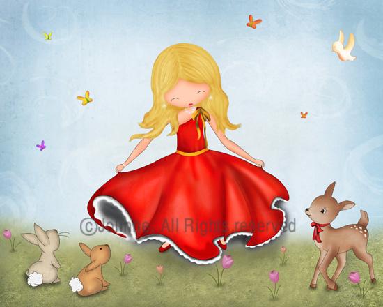 הדפס קנבס  -  כולל מסגרת עץ, מוכן לתליה.נאיבי איור ציורי ילדים הדפסה לחדר ילדים בנות רקדנית פיות חיות תמים ילדותי יפה