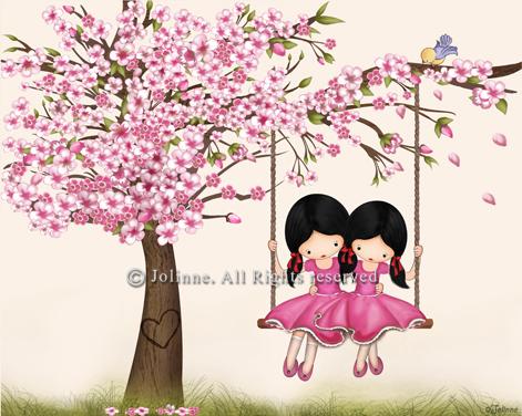 הדפס קנבס  -  כולל מסגרת עץ, מוכן לתליה.ג'ולין, ילדות מתנדנדות, נדנדה, שקדיה, עץ דובדבן, ורוד, חמוד