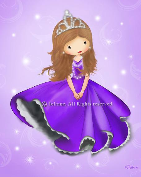 הדפס קנבס  -  כולל מסגרת עץ, מוכן לתליה.ג'ולין, נסיכה, סגול, כתר, שמלה , ורוד, חמוד