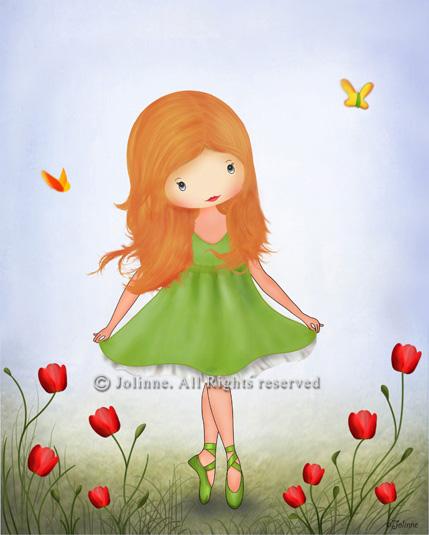הדפס קנבס  -  כולל מסגרת עץ, מוכן לתליה.ג'ולין, כלניות, ילדה רוקדת, ג'ינג'ית, שמלה ירוקה, שדה, שמש