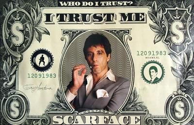פני צלקת  Scarface Al Pacino - תמונה על קנבס,מוכנה לתליה.Al Pachio   -  scarface   פני צלקת