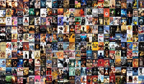 קולאז  250  סרטים   - תמונה על קנבס,מוכנה לתליה.קולאז  250  סרטים