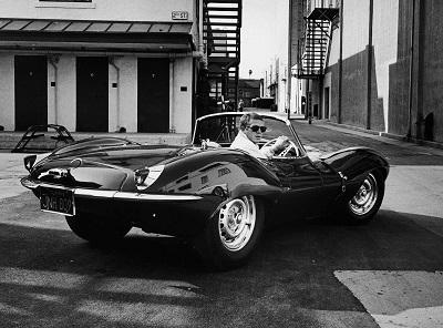 סטיב מקווין Steve McQueen   - תמונה על קנבס,מוכנה לתליה.סטיב מקווין Jaguar.XKSS .Steve McQueen