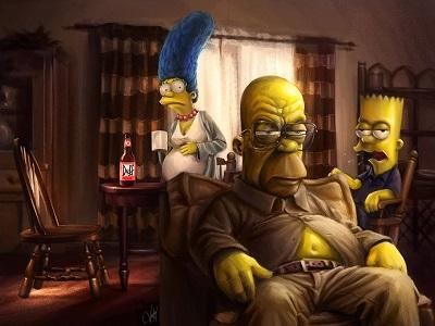 הסימפסונים  The Simpsons - תמונה על קנבס,מוכנה לתליה.הסימפסונים אנימציה  the_simpsons_homer_marge_bart_art_breaking_bad